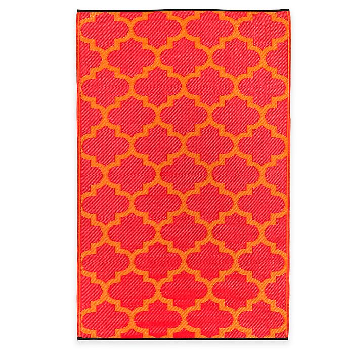 Alternate image 1 for Fab Habitat Tangier Trellis 6-Foot x 9-Foot Indoor/Outdoor Rug in Orange Peel & Rouge