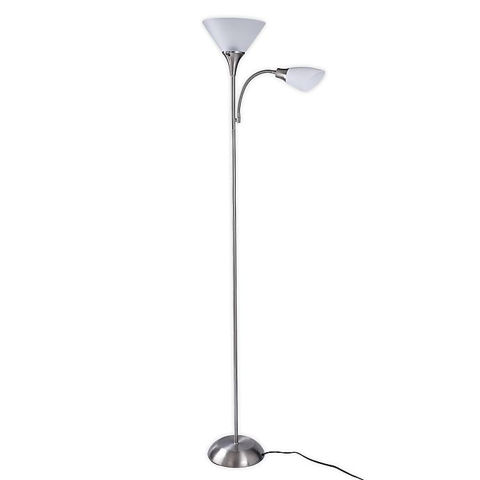 Alternate image 1 for SALT™ Mother Daughter Torchiere Floor Lamp in Brushed Steel