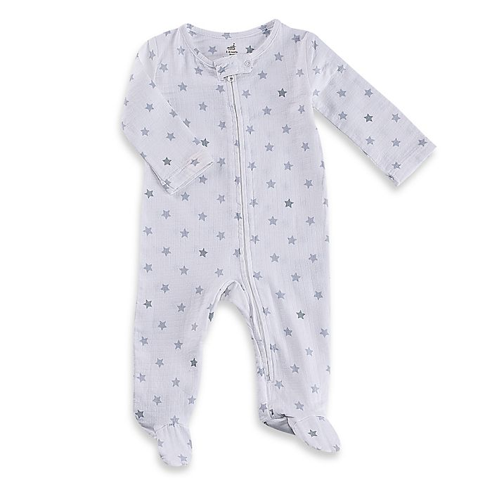 Alternate image 1 for aden® by aden + anais® Zip-Front Dove Glow Muslin Footie in White/Grey