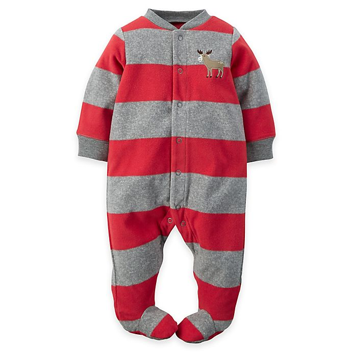 6208e1a6cae2 carter s® Moose Striped Snap-Front Fleece Footie in Grey Red