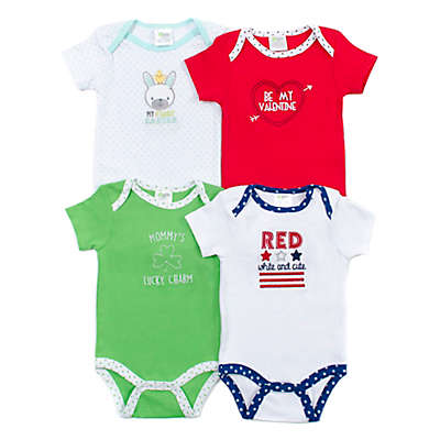 Cutie Pie 4-Pack Spring Holiday Short-Sleeve Bodysuits