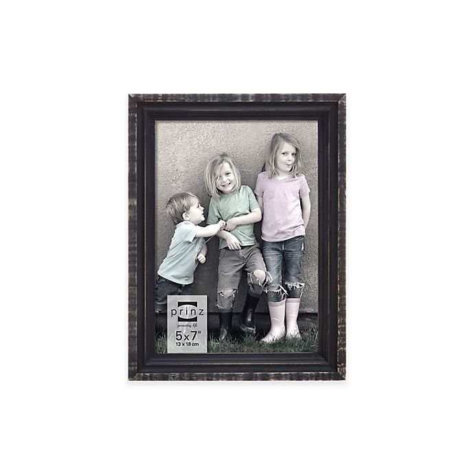 Alternate image 1 for Prinz Sweet Water Groove 5-Inch x 7-Inch Wood Frame in Distressed Black