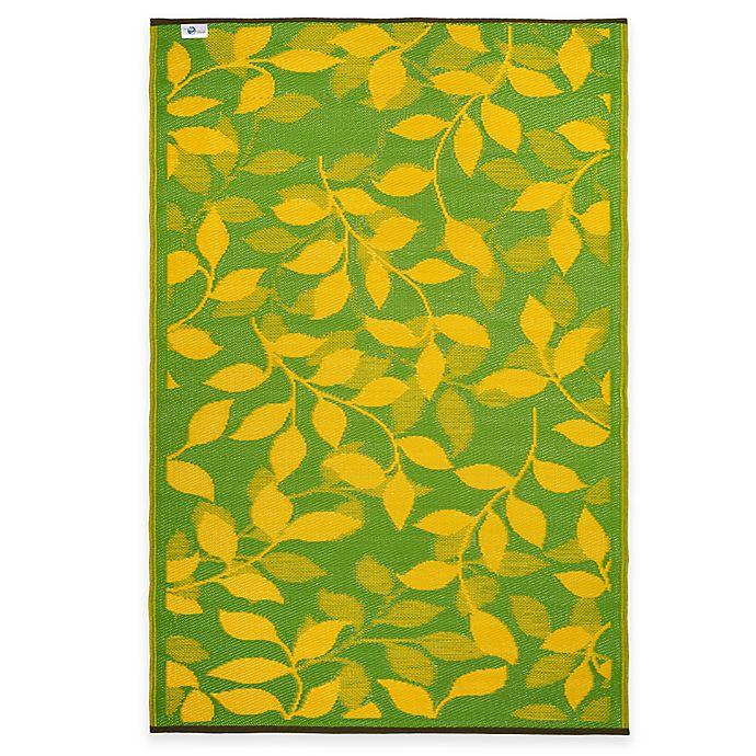 Alternate image 1 for Fab Habitat Bali 5-Foot x 8-Foot Indoor/Outdoor Area Rug in Lemon Yellow & Moss Green