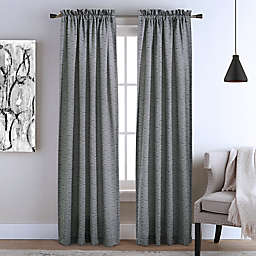 Commonwealth Home Fashions Kirkland 2-Pack 63-Inch Rod Pocket Window Curtain Panels in Black