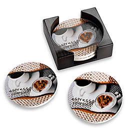 Espresso Coasters with Caddy (Set of 4)