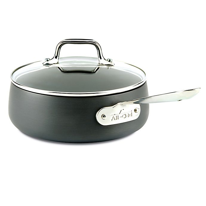 Alternate image 1 for All-Clad HA1 Nonstick 2.5 qt. Hard-Anodized Covered Saucepan in Grey