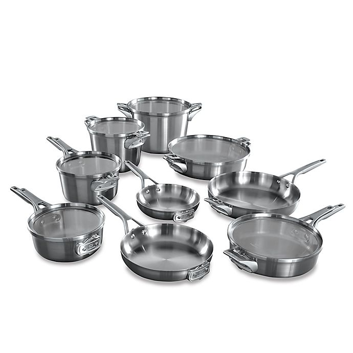 Alternate image 1 for Calphalon® Premier™ Space Saving Stainless Steel 15-Piece Cookware Set