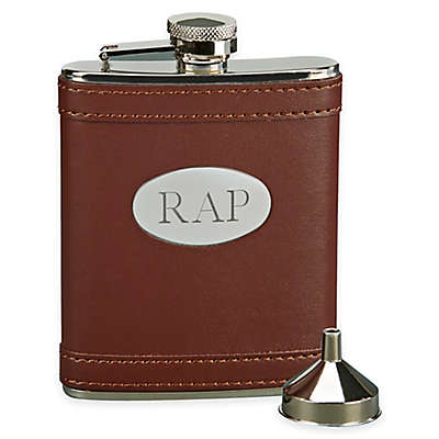 6 oz. Leatherette Flask with Engraving Plate in Brown/Silver