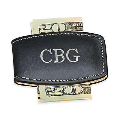Leather Money Clip in Black