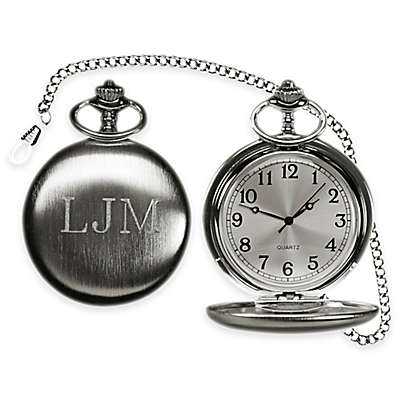 Brushed Stainless Steel Pocket Watch with Chain