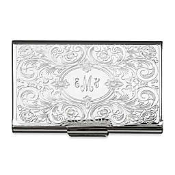 Embossed Scroll Metal Card Case in Silver