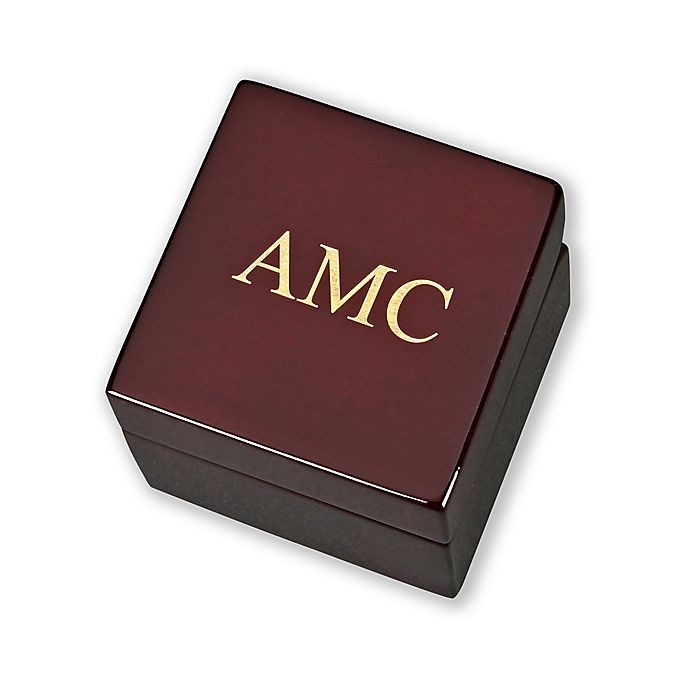 Alternate image 1 for Square Wood Box with Clock and Compass in Rosewood