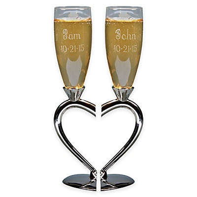 Split Heart Base Toasting Flutes (Set of 2)