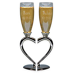 Split Heart Base Toasting Flutes Set Of 2