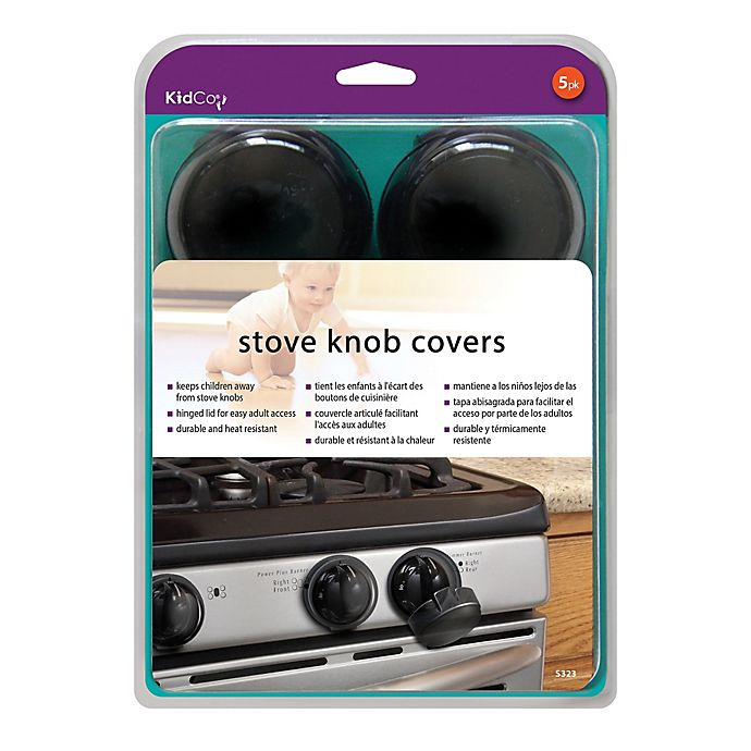 Alternate image 1 for Kidco® Stove Knob Covers in Charcoal (5-Pack)