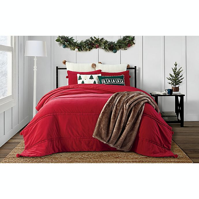 Alternate image 1 for Bee & Willow™ Home 3-Piece Pom Pom Velvet Quilt Set in Red