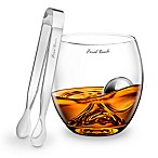 Final Touch® 3-Piece On the Rock Glass with Stainless Steel Chilling Ball and Tongs Set