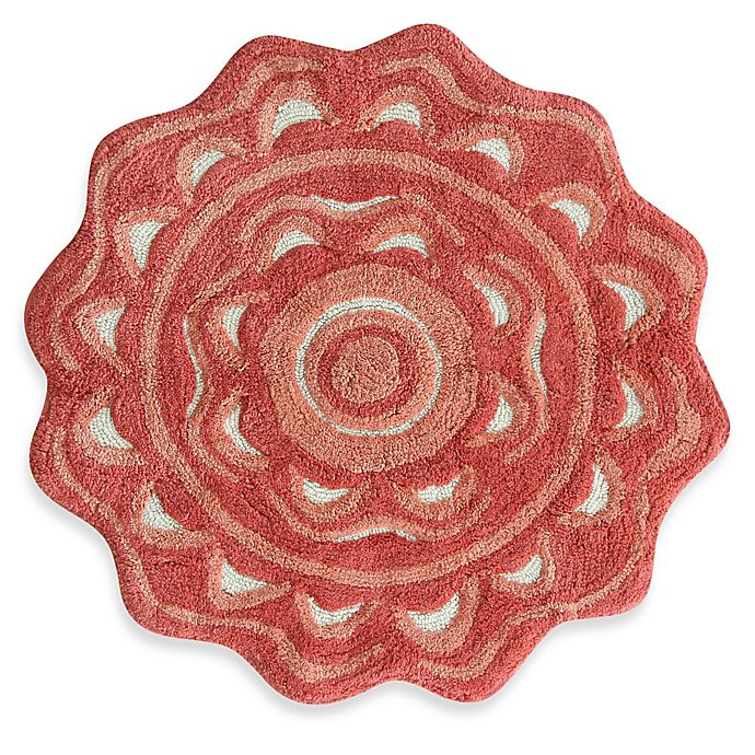 Alternate image 1 for Jessica Simpson 2-Foot 2-Inch Medallion Bath Rug in Coral/White