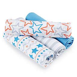 aden® by aden + anais® Small Fry Muslin 4-Pack swaddleplus® Blankets in Blue/Orange