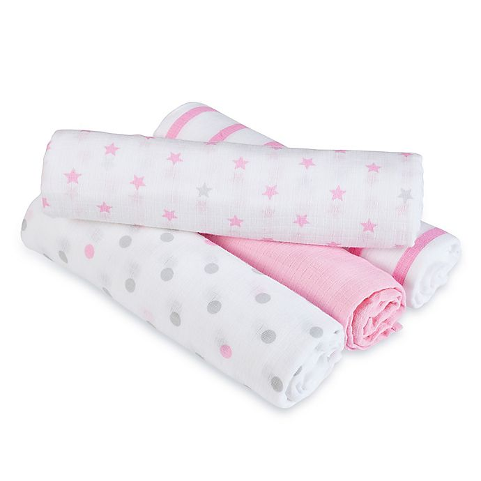 Alternate image 1 for aden® by aden + anais® Darling Muslin 4-Pack swaddleplus® Blankets in Pink/Grey
