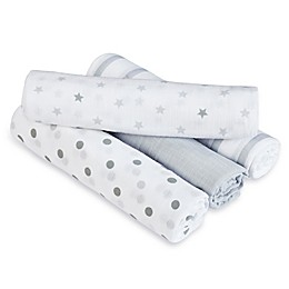 aden + anais™ essentials Dove Muslin 4-Pack swaddleplus® Blankets in Grey/White
