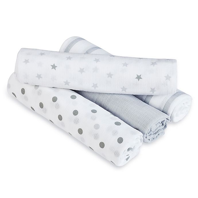 Alternate image 1 for aden + anais™ essentials Dove Muslin 4-Pack swaddleplus® Blankets in Grey/White