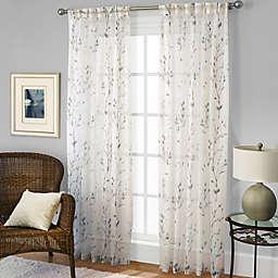 Willow Print Pinch Pleat Sheer Window Curtain Panel