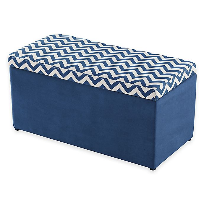 Alternate image 1 for Linon Home Chevron Toy Box in Navy and White