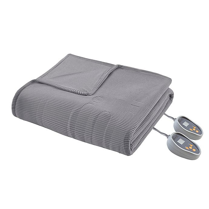 Alternate image 1 for Beautyrest Ribbed Heated Microfleece Twin Heated Blanket in Grey