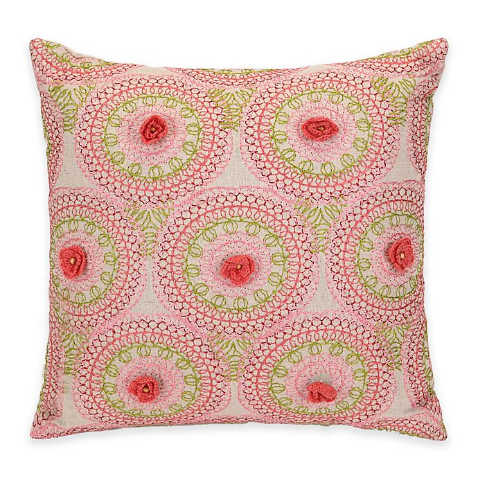 Alternate image 1 for Jessica Simpson Amrita Medallion Crochet Flowers Square Throw Pillow in Coral