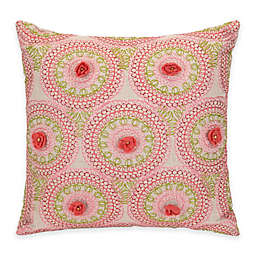 Jessica Simpson Amrita Medallion Crochet Flowers Square Throw Pillow in Coral