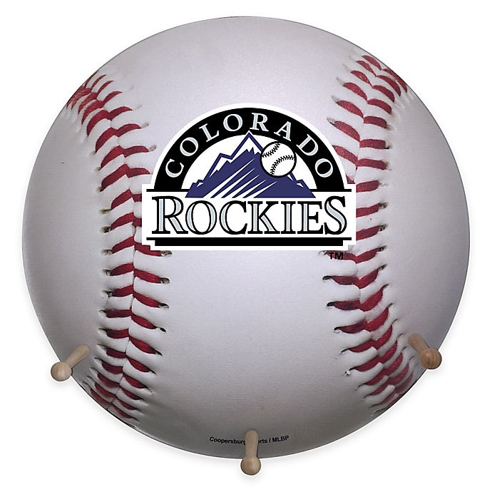 Alternate image 1 for MLB Colorado Rockies Team Logo Baseball Coat Rack