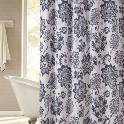 Avignon Shower Curtain In Navy Bed Bath And Beyond Canada