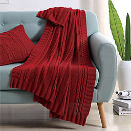 VCNY Abode Dublin Knit Throw Blanket in Red