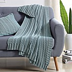 VCNY Abode Dublin Knit Throw Blanket in Spa Blue