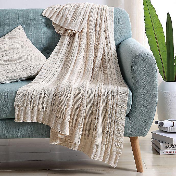 Alternate image 1 for VCNY Abode Dublin Knit Throw Blanket in Ivory
