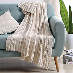 VCNY Abode Dublin Knit Throw Blanket in Ivory
