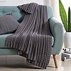 VCNY Abode Dublin Knit Throw Blanket in Grey