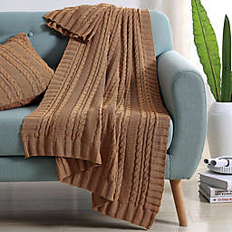 VCNY Abode Dublin Knit Throw Blanket in Camel