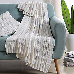 VCNY Abode Dublin Knit Throw Blanket in White