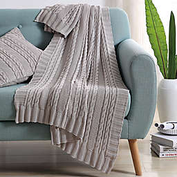 VCNY Abode Dublin Knit Throw Blanket in Silver