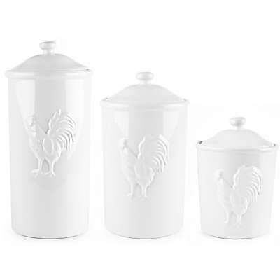 Ceramic Rooster Canister in White