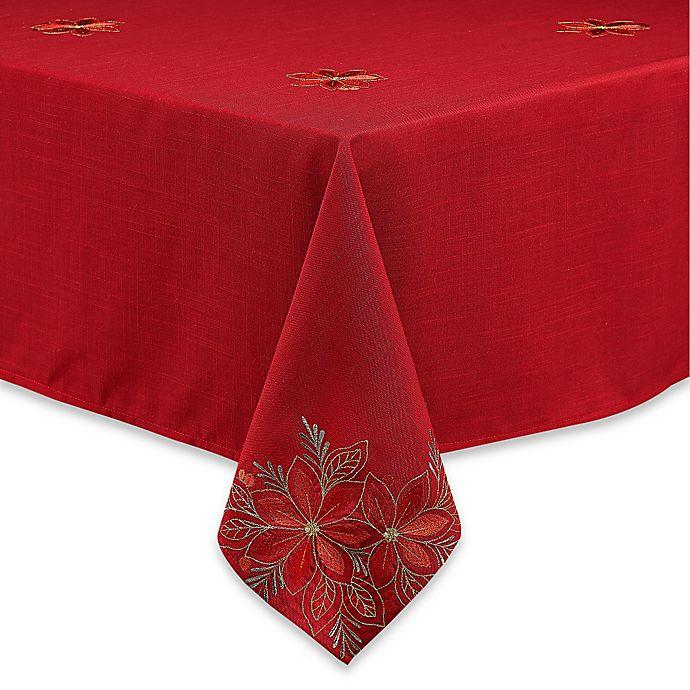 Alternate image 1 for Poinsettia Filigree Tablecloth