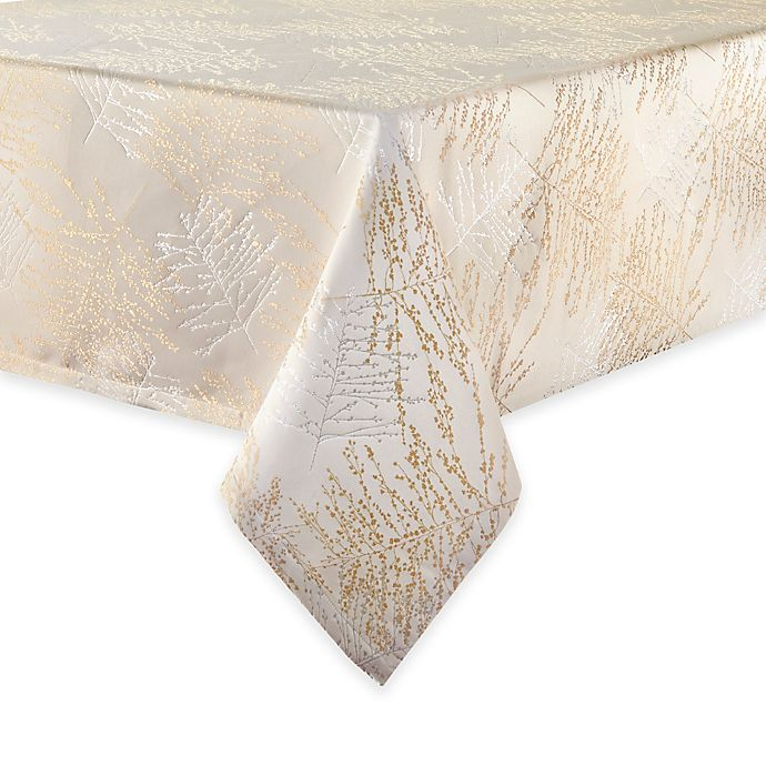 Alternate image 1 for Waterford® Linens Timber 52-Inch x 70-Inch Oblong Tablecloth in Gold/Silver