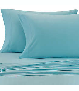 Set de sábanas matrimoniales de jersey modal de jersey modal Pure Beech® color aqua