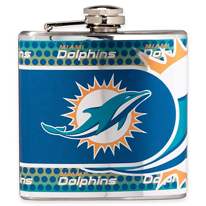 Alternate image 1 for NFL Miami Dolphins Stainless Steel Metallic Hip Flask