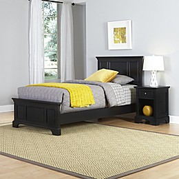 Home Styles Bedford 2-Piece Twin Bed and Nightstand Set in Black