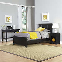 Home Styles Bedford 3-Piece Twin Bed, Nightstand and Student Desk Set in Black