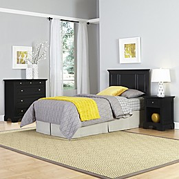 Home Styles Bedford 3-Piece Twin Headboard, Nightstand and Chest Drawer Set in Black