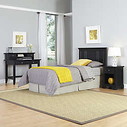 Home Styles Bedford 3-Piece Twin Headboard, Nightstand and Student Desk Set in Black